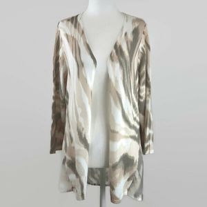 Chico's Size 2 Natural Tones Contrast Cardigan